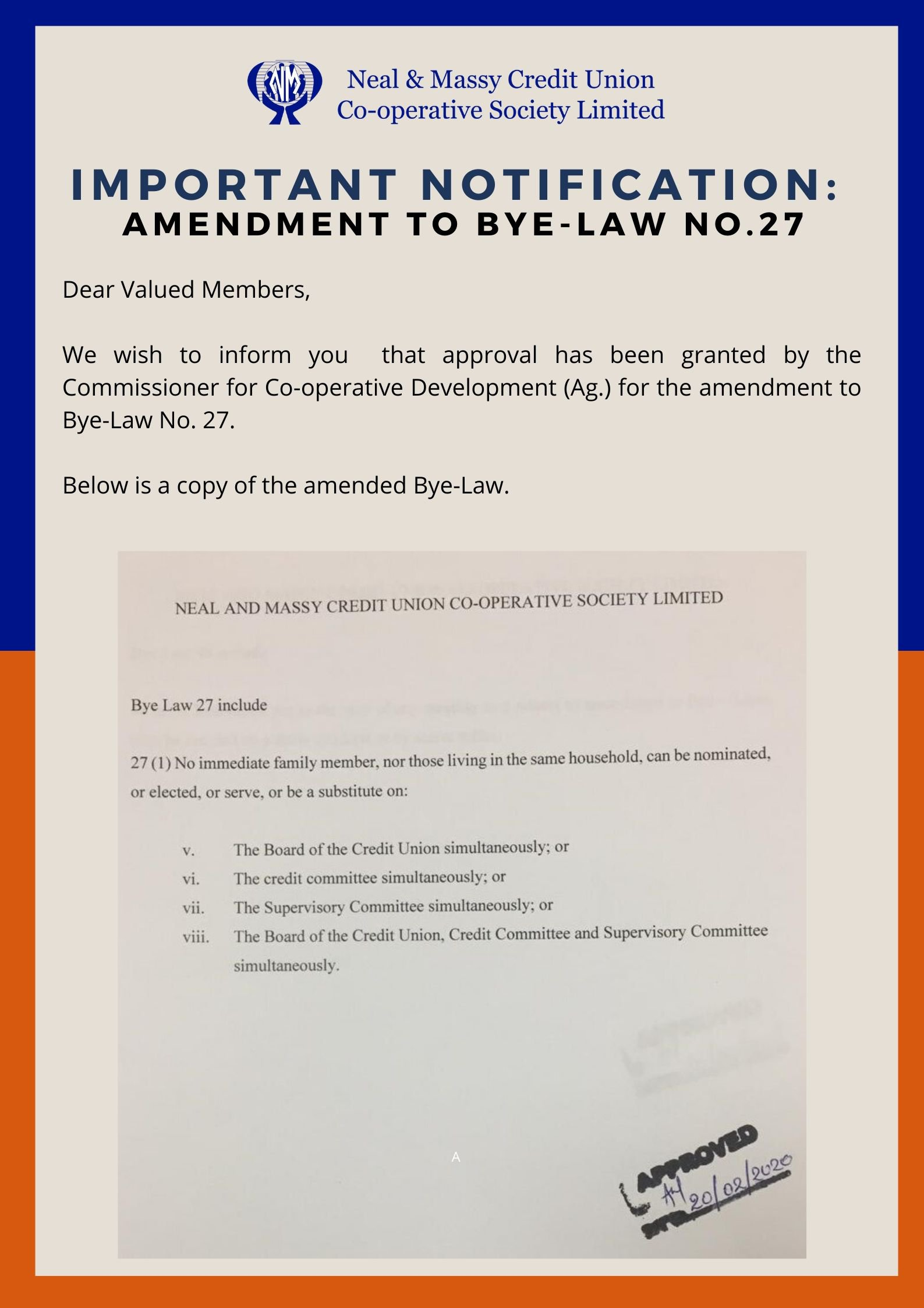 IMPORTANT NOTIFICATION:  AMENDMENT TO BYE-LAW no.27